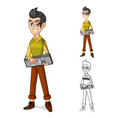 Geek Boy Mascot Cartoon Character Holding a Computer Keyboard