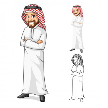 Middle Eastern Man with Folded Arms Cartoon Character