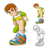 Perspective View of Kid Shoes Cartoon Character