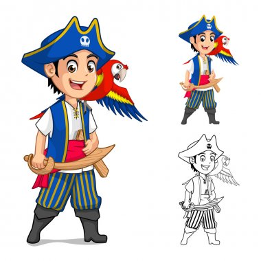 Kid Pirate Holding Wooden Sword with Scarlet Mawaw Bird Cartoon Character