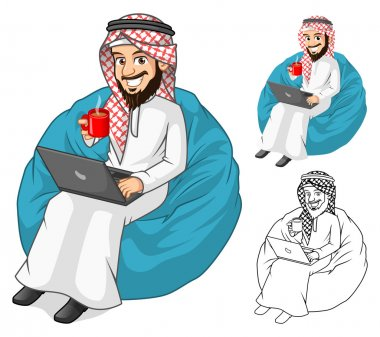 Middle Eastern Businessman Holding a Cup of Coffee and Notebook with Sit Pose