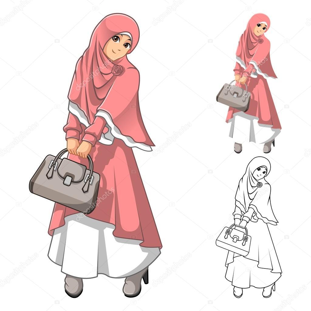 Moda de mujer musulmana lleva rosa velo o bufanda y traje vestido ...