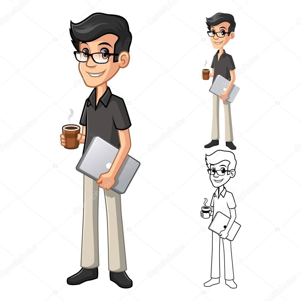 316e3ee2e9 Homme de geek à lunettes tenant un café et un personnage de dessin animé  portable incluent la conception plate et Line Art Version Vector  Illustration ...