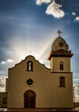 Sunset behind the Ysleta Mission, built in 1682, in El Paso, Texas