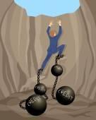 Muž v otvoru dluhu