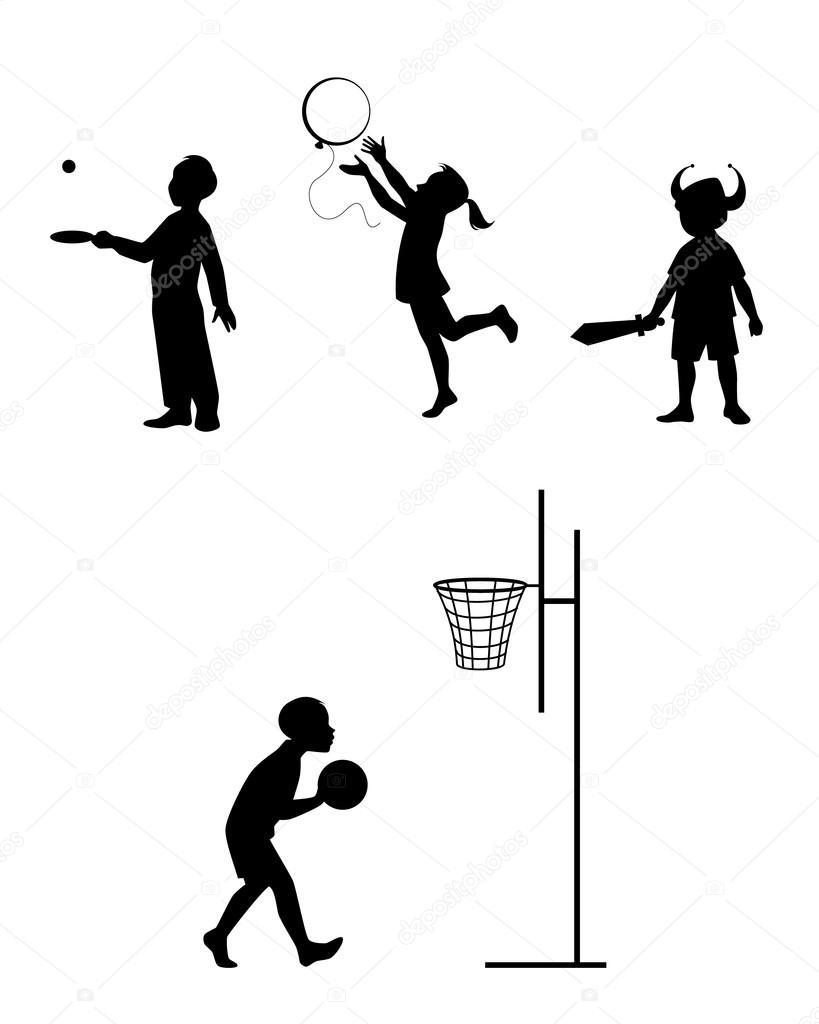 Sagome di bambini che giocano insieme vettoriali stock for Konzentrationsschw che kind