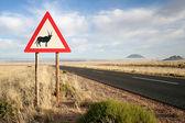Fotografie Straßenschild der ein Orxy in Namibia