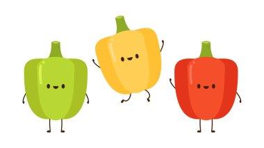 Bell pepper character design. Bell pepper on white background. icon