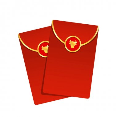 Chinese reward. Red paper pack. Envelope vector. Year of the Ox. Red pack. icon