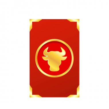 Chinese reward. Red paper pack. Envelope vector. Year of the Ox. Red pack. Year of the Ox with abstract gold line. icon