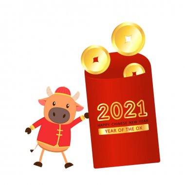 Chinese reward. Red paper pack. Envelope vector. Envelope stack vector. red pack. Cow character design. icon