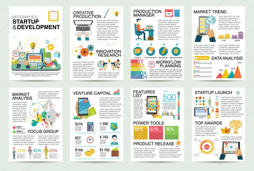 Modern flat infographics of startup business and launch for Product design marketing