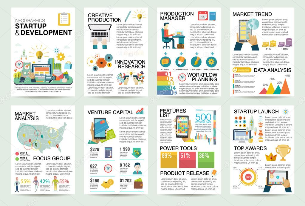 modern flat infographics of startup business and launch new product