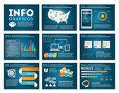 Velká sada prvků infografiky v moderní obchodní styl, to infochat. Modrá tmavá prezentace šablona. Použití ve webových stránkách, leták, firemní zprávy, prezentace, reklama, marketing