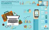 Plochá moderní design vektorové ilustrace koncept kreativní sady office Workspace, pracoviště. Ikona kolekce ve stylových barvách obchodní pracovní tok zboží, prvky. Infografika prvky s mapou světa