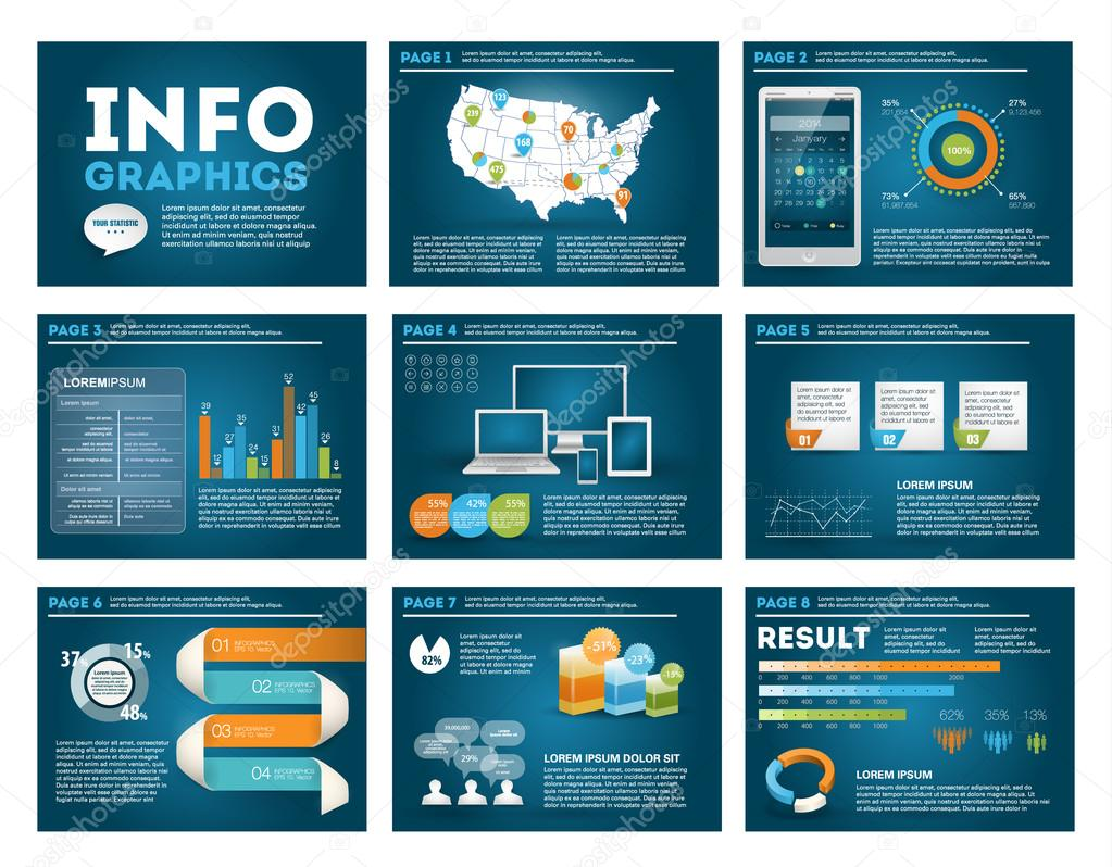 Big set of infographics elements in modern business style, IT infochat. Blue dark presentation template. Use in website, flyer, corporate report, presentation, advertising, marketing.