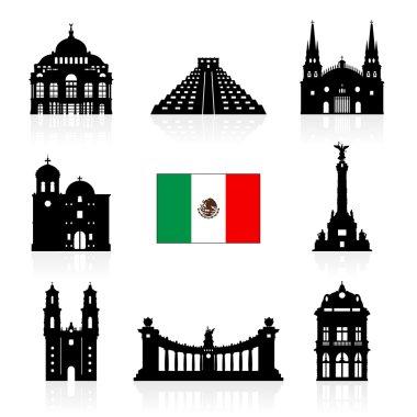 Mexico Travel Landmarks icon set.