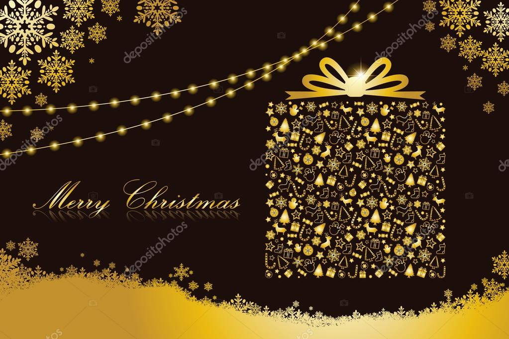Merry Christmas Card Gift Box Shape Black And Gold Color Stock Vector