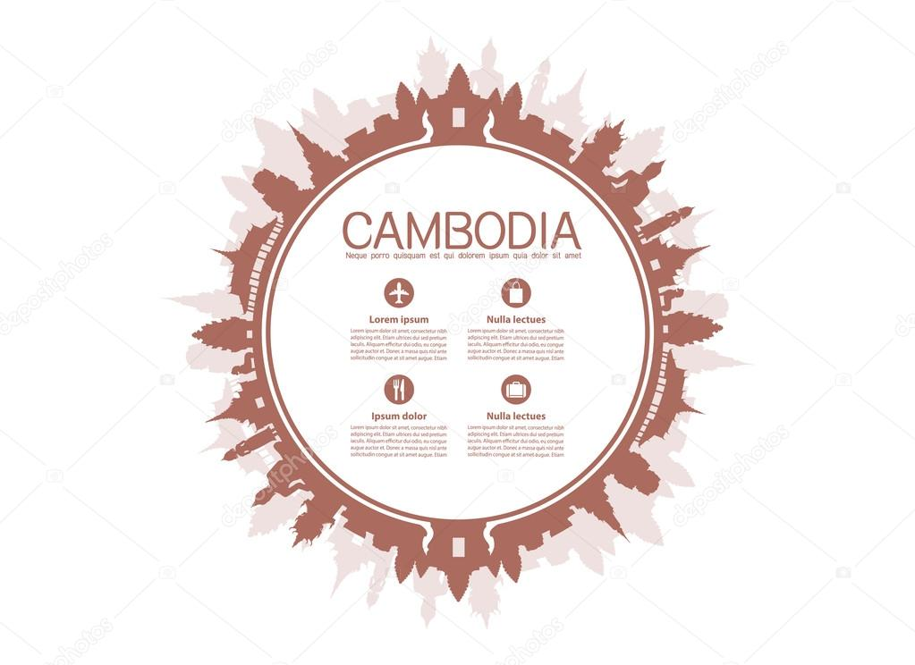 Beautiful Cambodia Travel Landmarks.