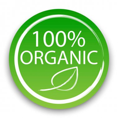 Vector icon 100 percent organic product. Natural vegan product label. Food certification symbol. Stock image. EPS 10. icon