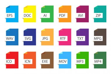 Colored file documents icons. Vector types of different file formats. A set of document extensions. Stock image. EPS 10