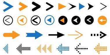 Watercolor colored arrows. Arrow icon collection. Hand cursor. Watercolor brush texture. Stock image. EPS 10. icon