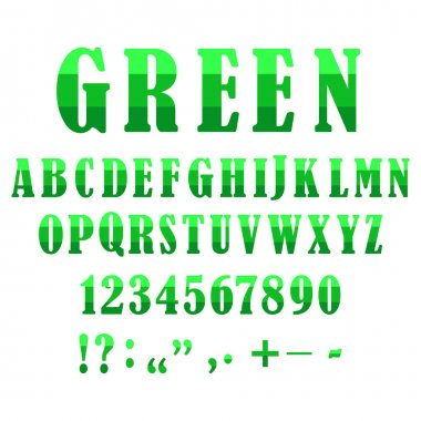 Letters punctuation marks set, great design for any purposes.Green letters and symbols set. Stock image.