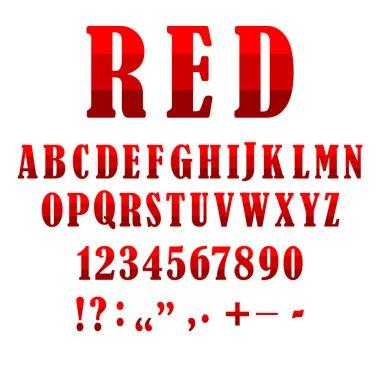 Realistic red set letter symbols. Number font. Alphabet vector illustration. Stock image. EPS 10.