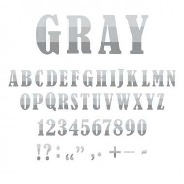 Number font. Sketch gray letters numbers. Beautiful sketch alphabet on white backdrop. Stock image. EPS 10.