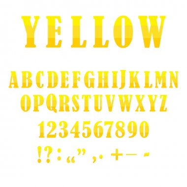 Retro cartoon yellow alphabet. Light style background. Template set. Stock image. EPS 10.