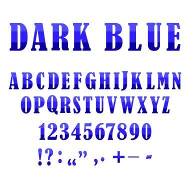 Blue alphabet signs. Creative vector font. Modern origami alphabet. Symbol, logo illustration. Stock image. EPS 10.