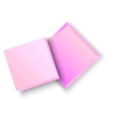 Pink open box on white background. Vector illustration 3d. Festive banner design. Stock image. EPS 10. icon