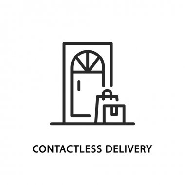 Contactless delivery flat line icon. Vector illustration of packag and box standing at the door icon
