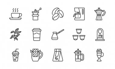 Coffee equipment line icon set. Coffee to go, mill,drip pack, cezve, pot, beans, capsules and tree. Concept for restaurant annd web shops. Editable strokes icon