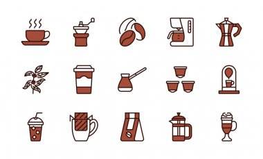Coffee equipment line icon set brown color. Coffee to go, mill,drip pack, cezve, pot, beans, capsules and tree. Concept for restaurant annd web shops. Editable strokes icon