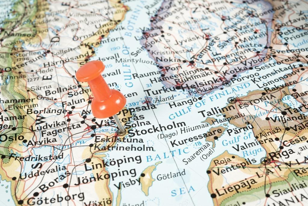 Pin On Map Indicatind Stockholm Sweden Stock Photo - Sweden map boras
