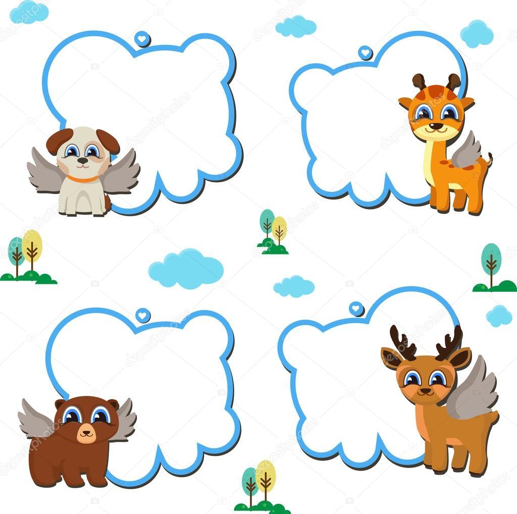 animal faces text frames clip art set — Stock Vector © direnko.katti ...