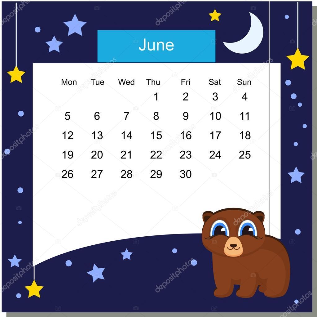 Frame with beer. Calendar 2017. June. Week Starts Monday — Stock ...
