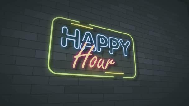 Happy hour Neon Sign Lights animation.4K video.wall háttér.