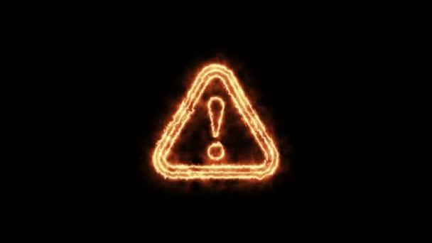 warning - fire sign. 4K video.fire effect, black background