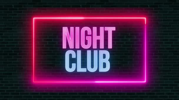 Nachtclub Neon Glowing Sign auf Ziegelwand. 4K-Video