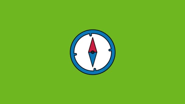 compass icon animation - Vector art .4K video.Simple motion animation.can be used for Explainer Video.green background