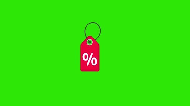 Ár Címke ikon animáció - Vector art.. 4K videó.Egyszerű mozgás animation.can be used for Explainer Video.green background