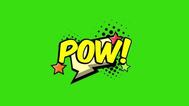 Retro-Comic Sprechblasen mit Text Pow. 4K Animation isoliert auf grünem Hintergrund. Cooles helles dynamisches Cartoon-Video