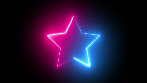 Neon Line Sternanimation. Zwei Farben rosa und blau.Leuchtende Sternanimation. Trimmweg-Effekt.