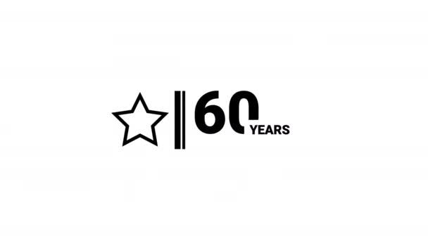 60 years anniversary celebration simple logo animation.
