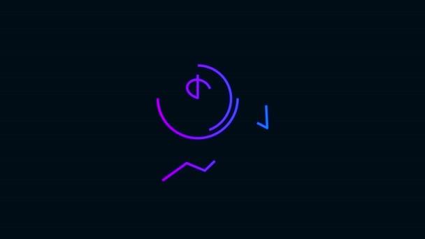 animace ikony dolarové mince.Zářící ikona neonové čáry s barvou přechodu. černé pozadí