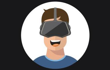 Virtual reality VR glasses man flat icons