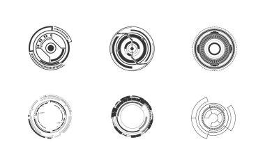 Set of 6 futuristic circle tech digital concept icon isolated icon