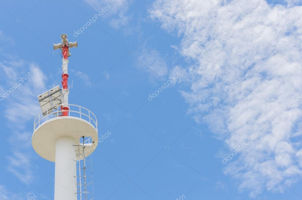 Loudspeaker at public address with blue sky background